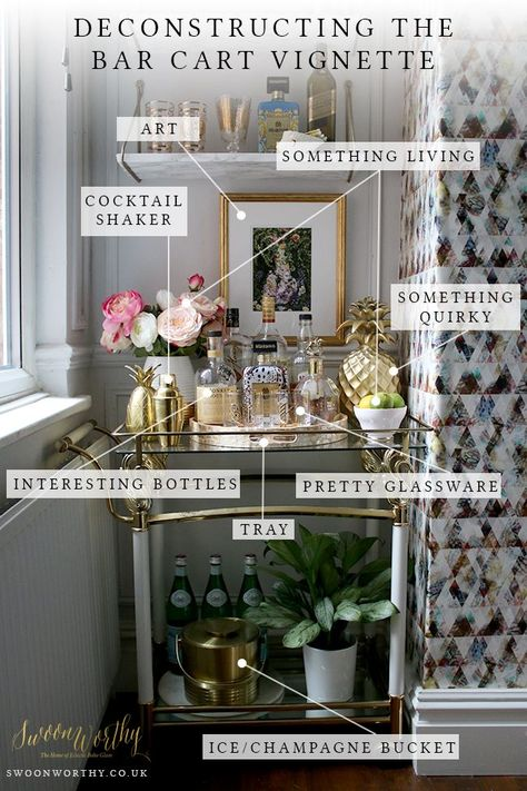 The essential elements for creating the perfect bar cart style - it really just comes down to 8 things! Check out the post here for the easiest way to style your bar cart or drinks trolley! The essential elemen Home Bar Decor, Bar Cart Decor, Diy Bar Cart, Ikea Bar Cart, Canto Bar, Bandeja Bar, Gold Bar Cart, Brass Bar Cart, Bar Cart Styling
