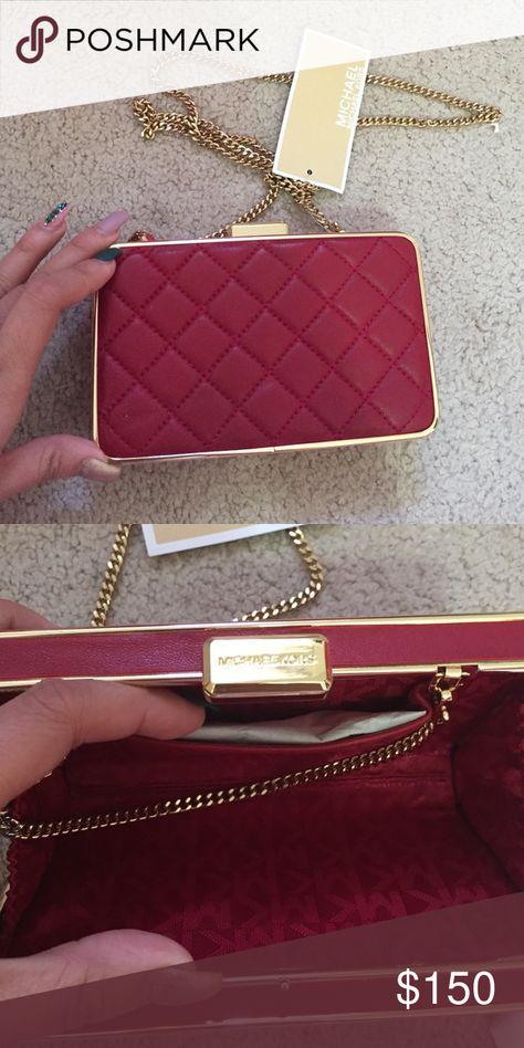 6214638836d1 Michael Michael Kors Elsie Box Clutch Michael Michael Kors Elsie Box Clutch  Quilted Red color with gold tone Hardware Michael Kors Bags Clutches &  Wristlets