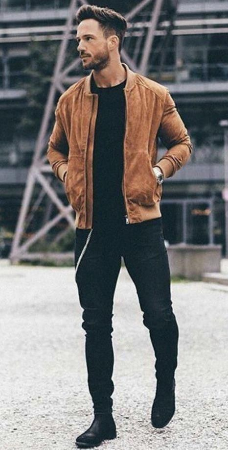 Men Clothing Nadine Din with a fall street style combo with a tobacco suede jacket black t-shirt watch black denim black suede chelsea boots Men