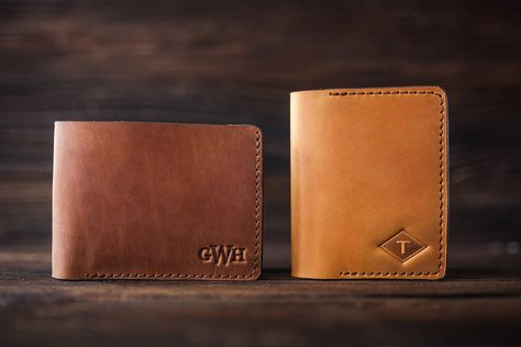 Check out our Valentine selection for the very best in unique or custom, handmade pieces from our shops. Personalized Leather Wallet, Personalized Gifts, Cool Mens Wallets, Gravure Laser, Leather Portfolio, Unique Gifts For Men, Branding, Groomsman Gifts, Inspirational Gifts