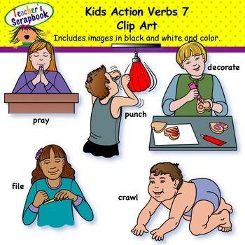 Kids Action Verbs 7 Clip Art Action Verbs Clip Art Kids Set