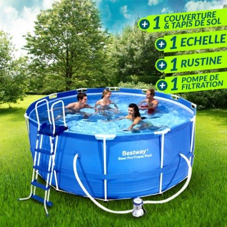 Kit Piscine Ronde Steel Frame Pools Bleue O 366 Cm Bestway