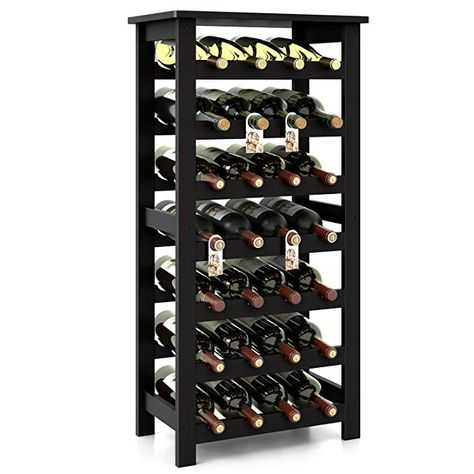 Amazon Com Homfa Bamboo Wine Rack 7 Tier Free Standing Wine