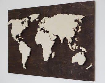 Wood World Map Wall Art Flat Earth Led World Map As Wall Etsy In 2020 Wood World Map World Map Wall Art Map Wall Art