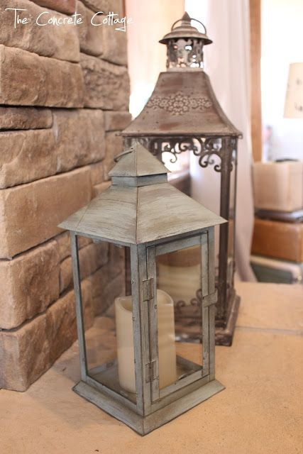 """The Concrete Cottage: Metal Lantern Revamp with Chalk Paint & Wax... """"I started by slopping on a layer of Annie Sloan Chalk Paint in Duck Egg Blue. (I love that stuff!!) Then did an even worse job of randomly adding some grey, Anita's acrylic craft paint in Charcoal. And finished it off by lightly brushing on some Annie Sloan Dark Wax."""""""