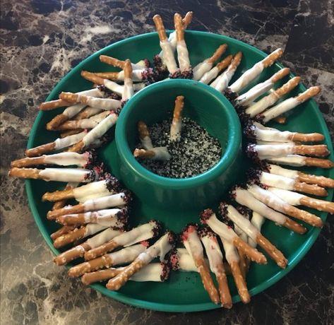Pretzel stick cigarettes in a sugar ashtray