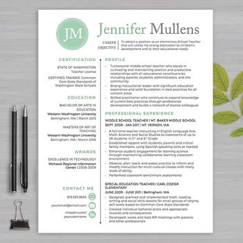Teacher Resume Template Elementary Teacher Resume Template For Word & Pages 1  3 Pages