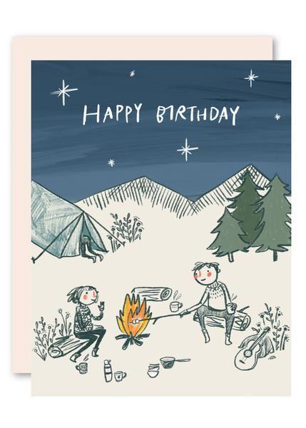 Camping Birthday Card Birthday Cards Camping Birthday Birthday Illustration