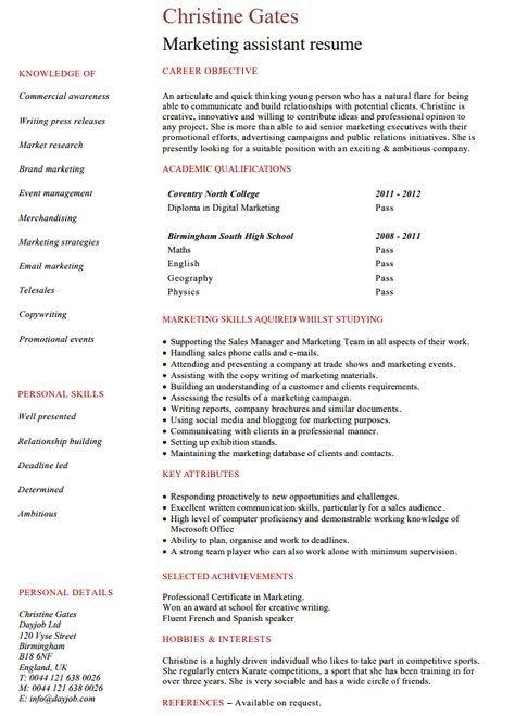 Marketing Assistant Cv Marketing Resume Job Resume