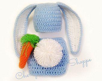 Crochet recién nacidos conejo sombrero por CherryBlossomShoppe