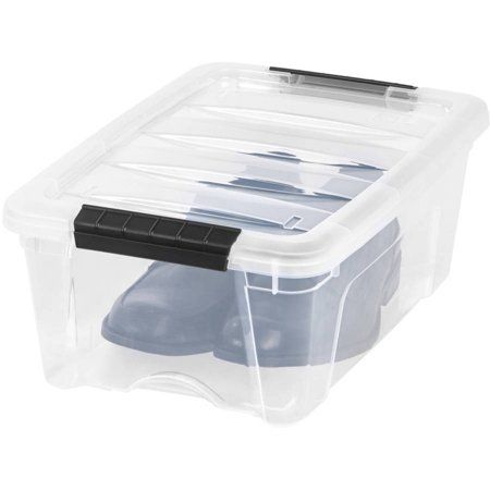 Iris Usa 12 Qt Clear Plastic Storage Box With Latches Walmart Com In 2020 Rolling Storage Bins Plastic Box Storage Plastic Storage Bins
