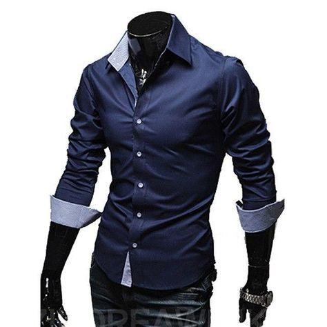 a0c2eb2f787 Mens Casual Shirts 2018 Hot Sale Mens Slim Fit Dress Long Sleeveliligla