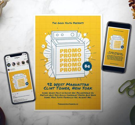 Laundry Service Flyer + Social Media Templates