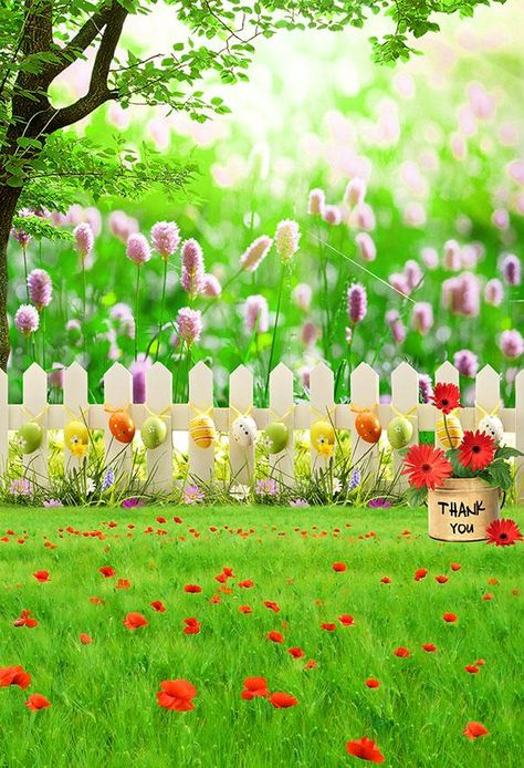 Beautiful Easter Backdrop Spring Flowers Easter Eggs Green Grass Photo Backdrop LV-1356 - 3'W*5'H(1*1.5m)