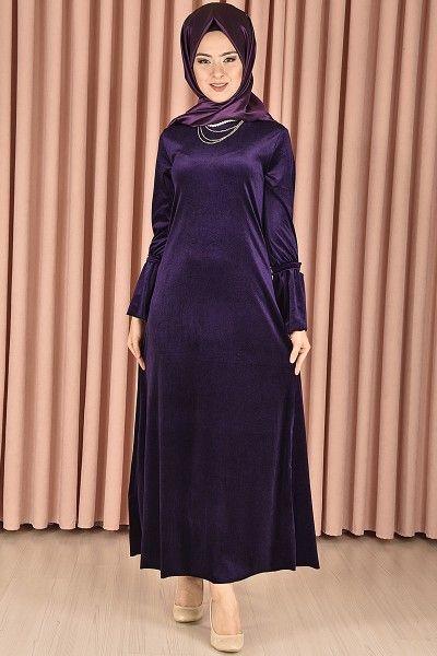 Modamerve Inci Kolyeli Kadife Elbise Mor Png 5146 Elbise Modelleri Elbise Elbiseler