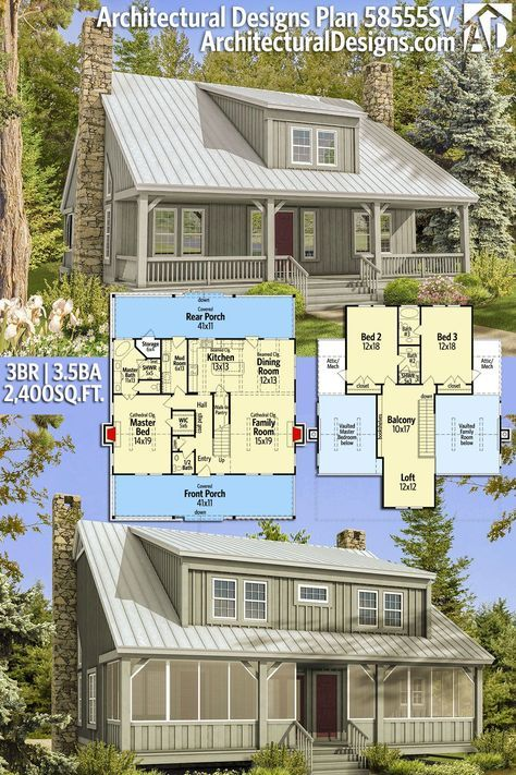 Plan 58555sv Country Home Plan With Big Front And Rear Porches Architectural Design House Plans Rustic House Plans Country House Plans