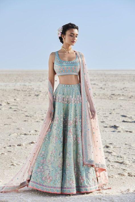 15 Anita Dongre Lehenga Designs With Prices - SetMyWed Blue Lehenga, Indian Lehenga, Indian Gowns, Indian Attire, Designer Bridal Lehenga, Bridal Lehenga Choli, Lehenga Blouse, Bollywood Lehenga, Sabyasachi