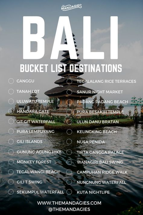 Bali, Indonesia Bucket List. Save this pin for island inspiration later, and click the link for more Southeast Asia ideas! #indonesia #bucketlist #bali #waterfall #travel #asia #southeastasia #surf #tropical #vacation #adventure #outdoors #summer #kuta #canggu #uluwatu #gili #nusapenida