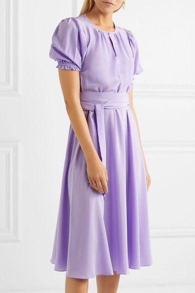 ARoss Girl x Soler Brooke belted silk crepe de chine midi
