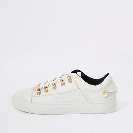River Island White RI embossed lace-up