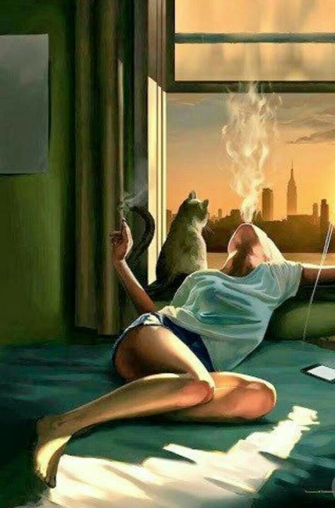#woman #cat #girl #art #pintura #arte #Art surrealista girl smoking in bed