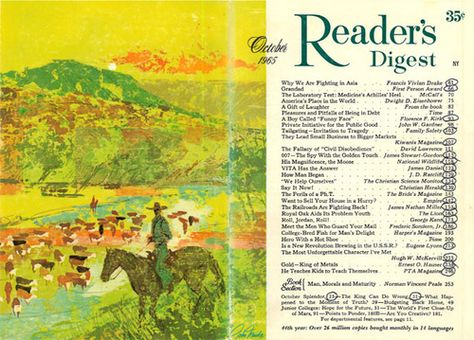 Reader's Digest front and back cover, October 1965  Illustration by: John Moodie