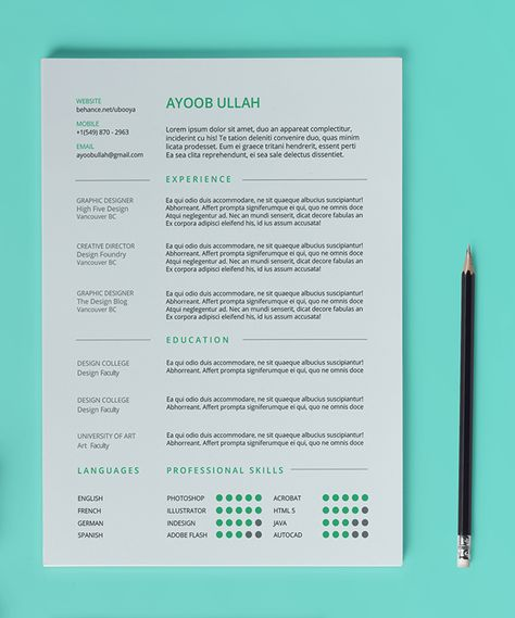 The Elegant Resume\/CV Set Template by SNIPESCIENTIST on Creative - single page resume