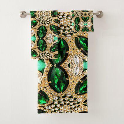 Girly Chic Luxury Gold Emerald Green Rhinestone Bath Towel Set Zazzle Com In 2020 Towels Design Towel Set Bath Accessories Set