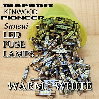 25 New Warm White 8V Fuse Lamp LED Light Bulbs fr Marantz Sansui Pioneer Kenwood