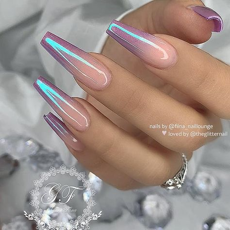 """TheGlitterNail 🎀 Get inspired! on Instagram: """"✨🌸💜🌸✨ Violet Ombre with Chrome Effect on long Coffin Nails 👌 • 💅 Nail Artist: @fiina_naillounge 💝 Follow her for more gorgeous nail art…"""""""