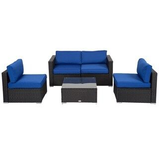 Kinbor 5 Piece Outdoor Patio Furniture Set Wicker Sectional Sofa