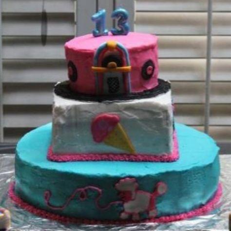 Arianna Alford's 13th birthday cake; 50's theme.