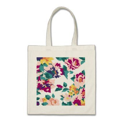 Colourful Floral Tote Bag Floral Style Flower Flowers Stylish