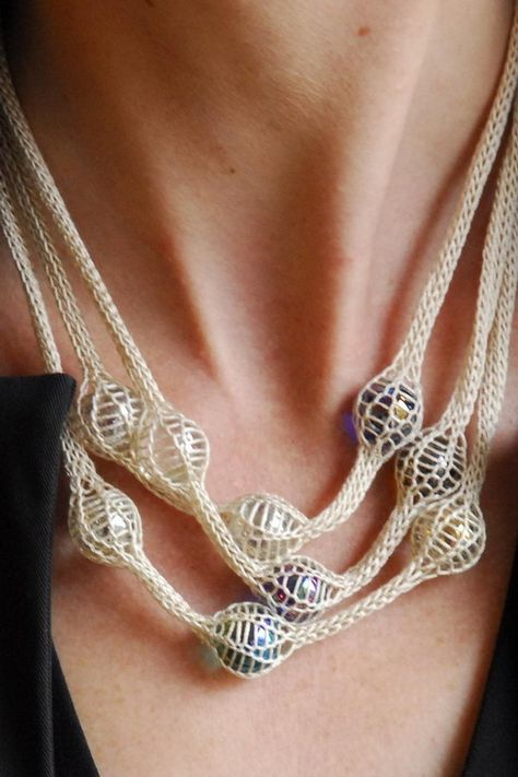 Knitted Marbles Necklace, Cool Knitting Project Ideas