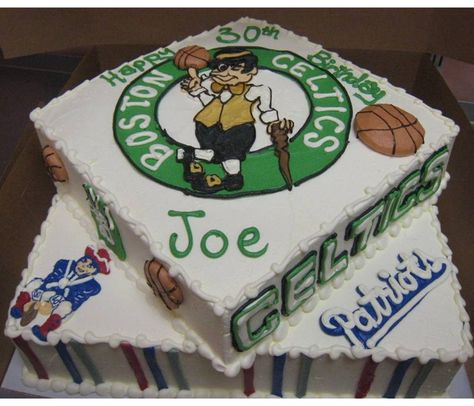 Boston Celtics And New England Patriots Sports Inspired Birthday Cake