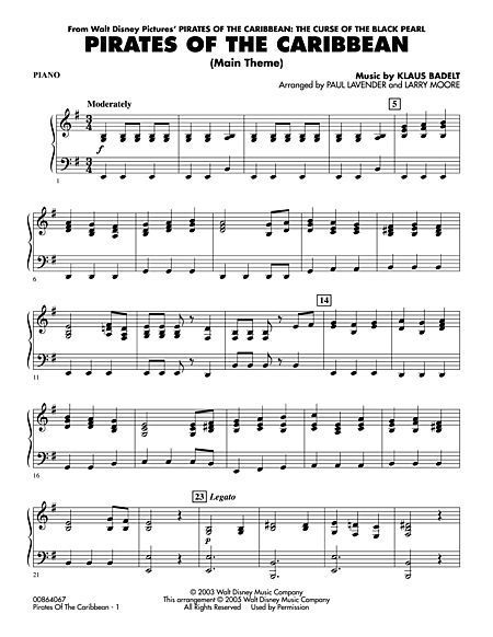 Piano Sheet Music For Pirates Of The Caribbean Theme Song Grade 3