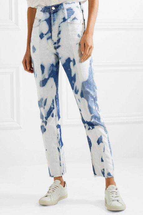 The Twin Bleached High Rise Straight Leg Jeans Bleach Jeans Diy Tie Dye Jeans Tie Dye Fashion