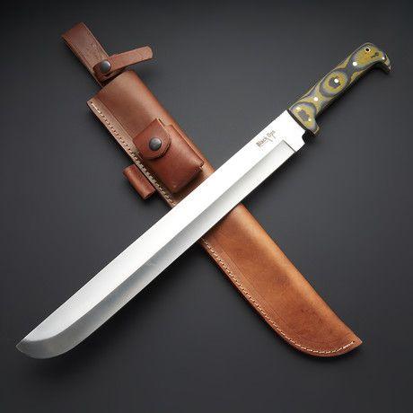 Battle Ready Machete Modern Combat Sword Black Ops Sword Leather Sheath