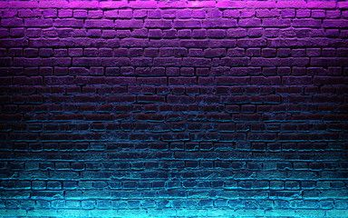 Modern Futuristic Neon Lights On Old Grunge Brick Wall Room