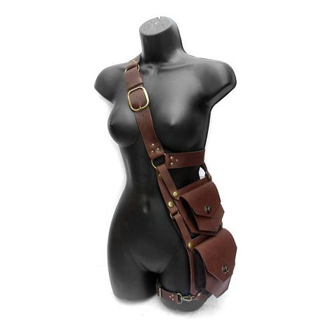 # medieval leather accessories Handmade Steampunk Viking Style Two Leather Bag Vintage with Buckle Straps Fashion Adjustable Shoulder Bag Medieval Cross Body Leather Pirate Bag Fantasy Larp Cosplay Props Accessories Moda Steampunk, Steampunk Fashion, Steampunk Diy, Look Fashion, Fashion Outfits, Gothic Fashion, Character Outfits, Leather Bag, Black Leather