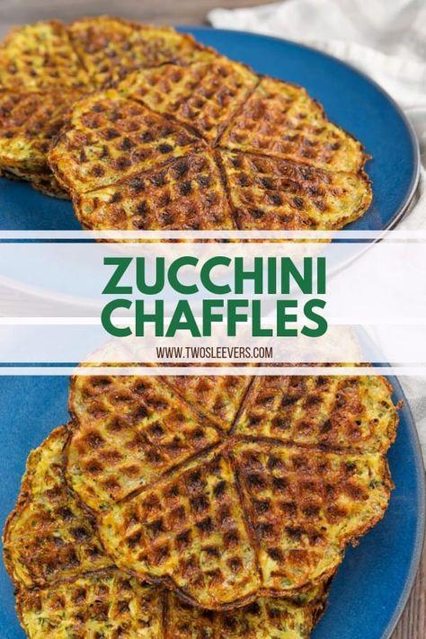 Zucchini Chaffles | Zucchini Waffles | Low Carb Zucchini Recipes | Zucchini Recipes Low Carb | Zucchini Waffle Recipe | Low Carb Waffle Recipe | Savory Chaffles | Savory Waffle Recipe | TwoSleevers #zucchinichaffles #chaffles #chafflerecipe #savorywaffles #twosleevers