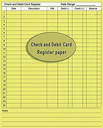 Epub Check And Debit Card Register Paper Transaction Registers For Checkbooks Register Date Desc
