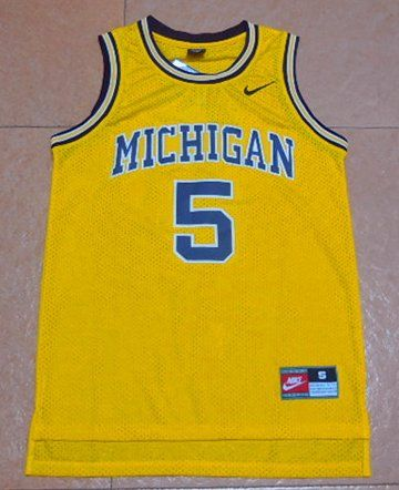 premium selection 83368 4df9e Fab+Five+5+Jalen+Rose+Gold+Michigan+Wolverines+Retro+NCAA+ ...