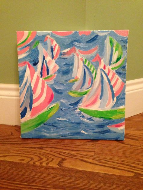 Lilly Pulitzer Sailboat Painting Replica. $20.00, via Etsy.