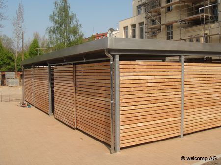 Mulltonnenhaus Grundach Seitenverkleidung Larchenholzlatten Quer Mulltonnenhaus Carport Stahl Carports