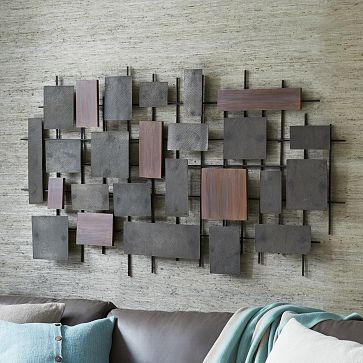 hammered metal wood wall art westelm i need this over my bed