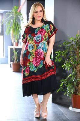 Buyuk Beden Desenli Elbise Sezon Sonu Indirimi Ve Kapida Odeme Secenegi Ile Patirti Com Da Elbise Moda Stilleri The Dress