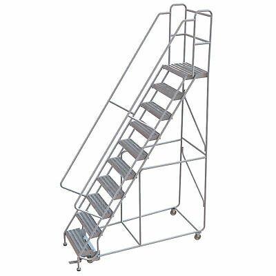 Ad Ebay 10 Step Aluminum Rolling Ladder W Ribbed Steps 24inwx14ind Platform 350lb Cap In 2020 Rolling Ladder Aluminium Ladder Ladder