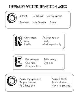 Oreo Opinion Writing Persuasive Transition Words Transition Words Writing Transition Words Persuasive Writing