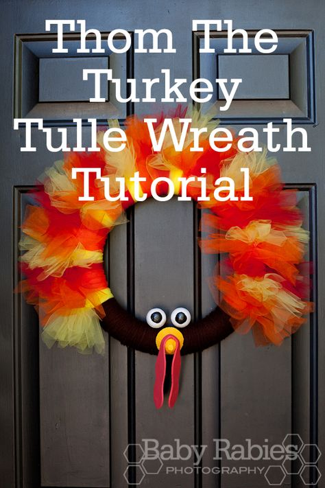 Thom the Turkey Wreath - tutorial for #thanksgiving